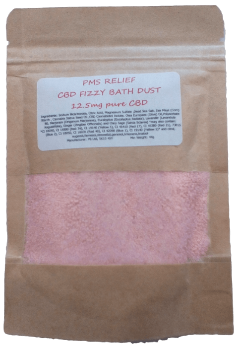 PMS Relief CBD Hemp Oil Aromatherapy Fizzy Bath Dust - 12.5mg